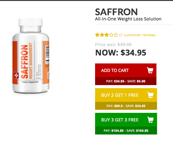Saffront extract appetite suppressant